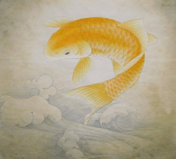 Pin peinture carpe koi on pinterest for Poisson koy