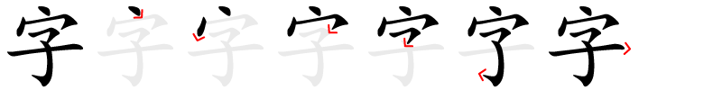 Strokes order of 字