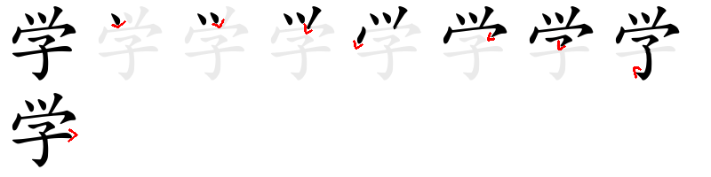 Strokes order of the Chinese characters 学