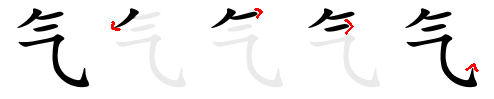 Strokes order of the Chinese characters 气