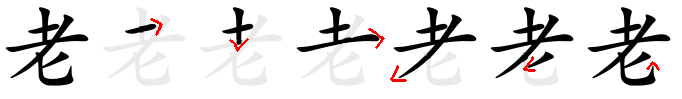 Strokes order of the Chinese characters 老