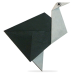 Origami of ostrich, picture of menu