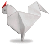 Origami of rooster, picture of menu