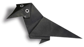 Origami of raven, picture of menu