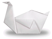 Origami of swan, picture of menu