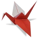 Origami of crane, picture of menu