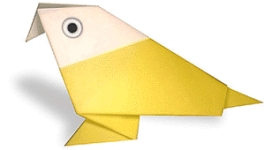 Origami of parrot, picture of menu