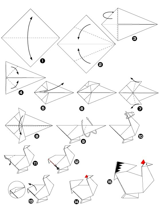 Origami of chicken - Video d origami facile ...