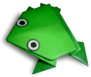 Origami of jumping frog, picture of menu