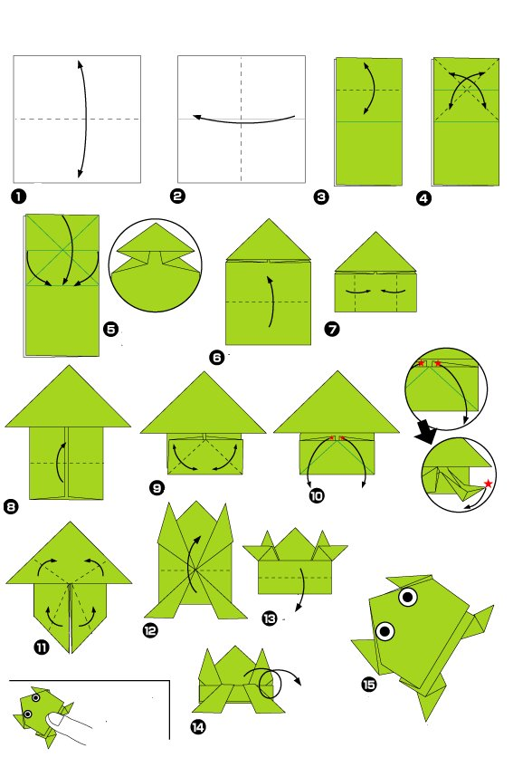 Origami of jumping frog