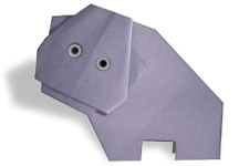 Origami of hippo, picture of menu