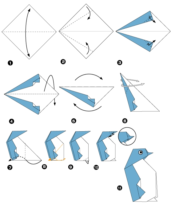 Origami of penguin