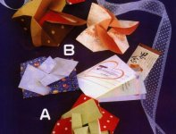 Origami of flower envelope, picture of menu