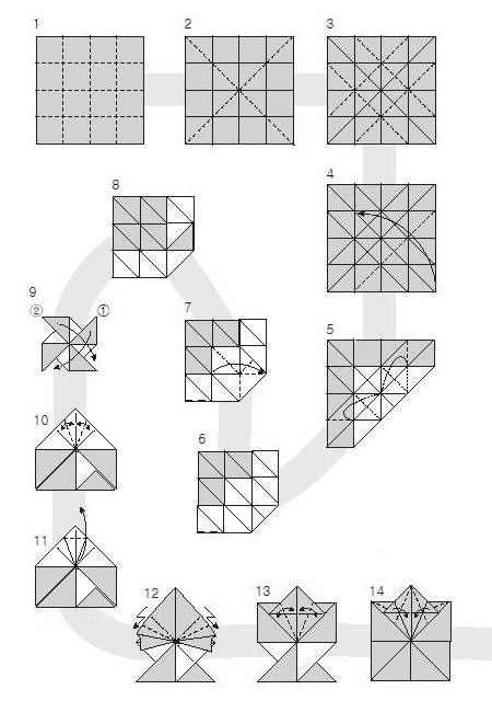 Diagram of origami of small leaves of maple, stage 1