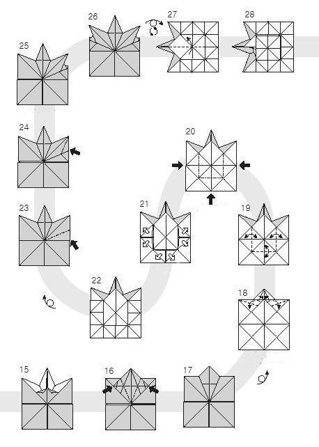 Diagram of origami of small leaves of maple, stage 2