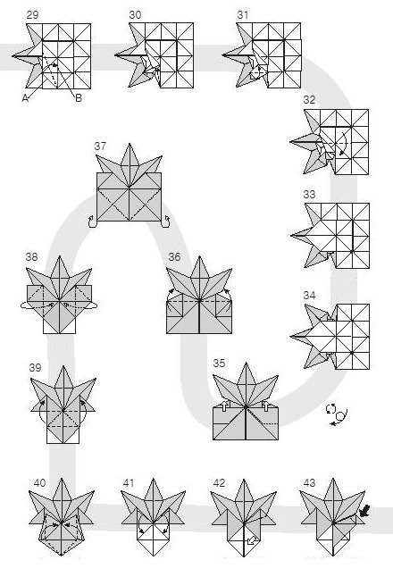 Diagram of origami of small leaves of maple, stage 3
