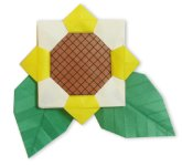 Origami of sunflower, picture of menu
