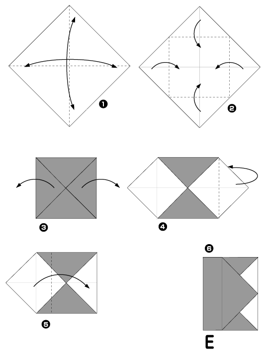 Origami of the letter E