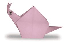 Origami of snail, picture of menu