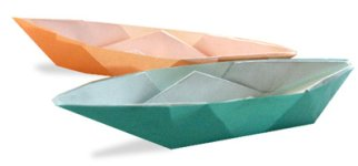 Origami of sailboat, picture of menu