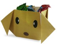 Origami of box dog head, picture of menu