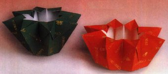 Origami of flower bowl, picture of menu