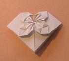Origami of heart, picture of menu