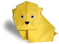 Origami of cat, picture of menu