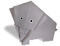 Origami of elephant, picture of menu