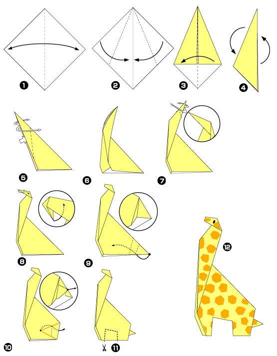 Origami of giraffe - photo#9