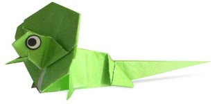 Origami of lizard, picture of menu