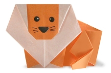 Origami of lion, picture of menu
