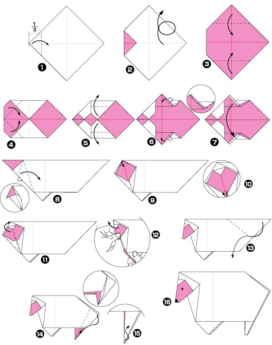 Origami of sheep