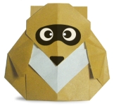 Origami of raccoon washer, picture of menu