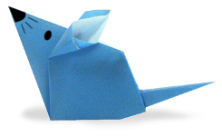 Origami of mouse, picture of menu