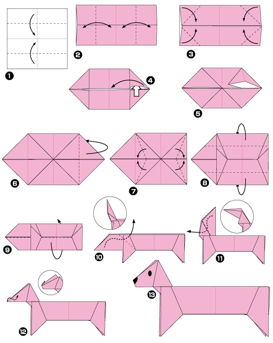 origami facile animaux chien