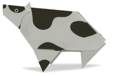 Origami of cow, picture of menu