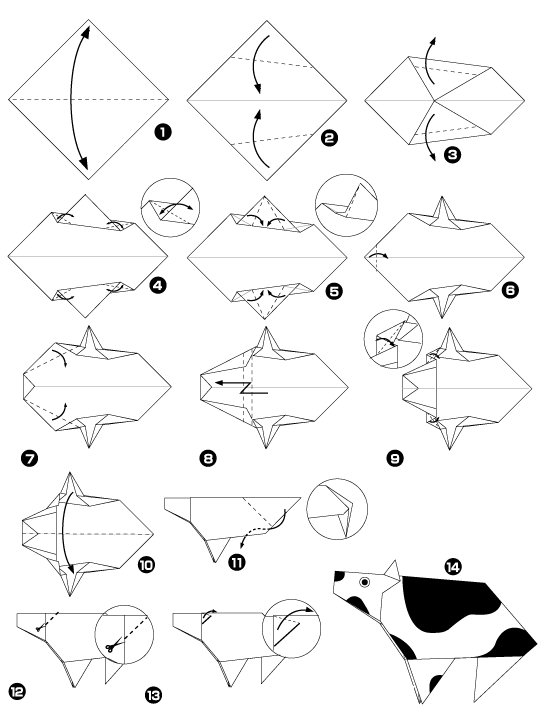 Origami of cow